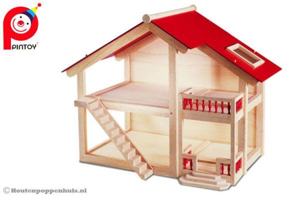 Pintoy groot houten landhuis for Groot poppenhuis