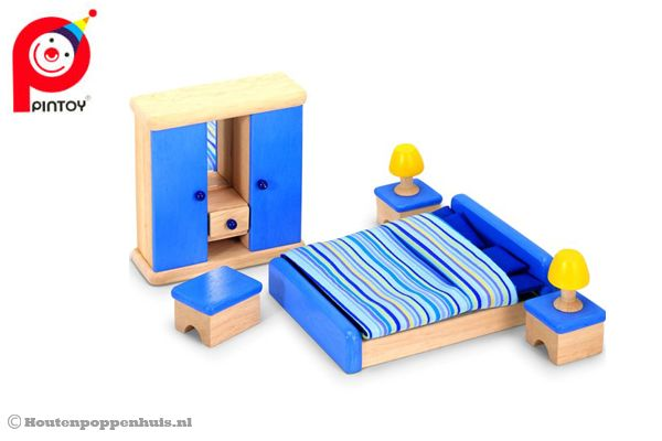Houten Accessoires Slaapkamer : Pintoy slaapkamer houtenpoppenhuis