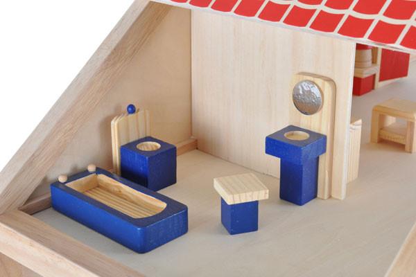 Woodtoys houten poppenhuis - Badkamer met houten meubels ...