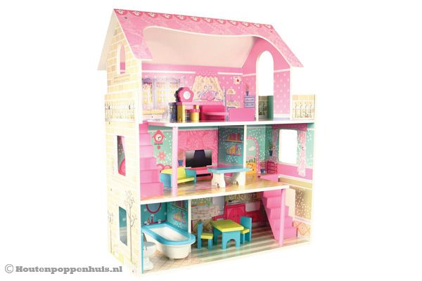 Woodtoys poppenhuis deluxe for Poppenhuis hout